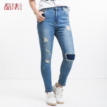 L-6xl Большой размер Leiji мода разорвал отверстие женщины синие брюки тонкие узкие ...