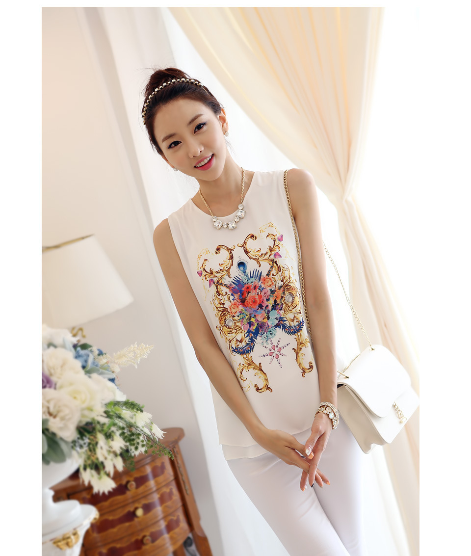 Summer New Fashion Korean Style Blouses High Quality Women 39 S Floral Print Sleeveless Vest