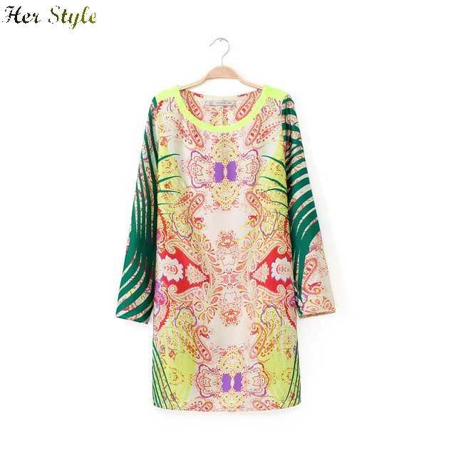 Free Shipping faux satin print dress with long sleeves womens casual printed 1232 20150347(China (Mainland))