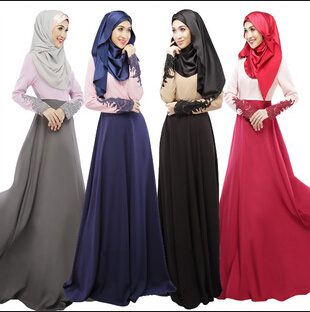 Muslim women clothes solid color long sleeve lace dress mixed - Beautiful sexy women's clothing store