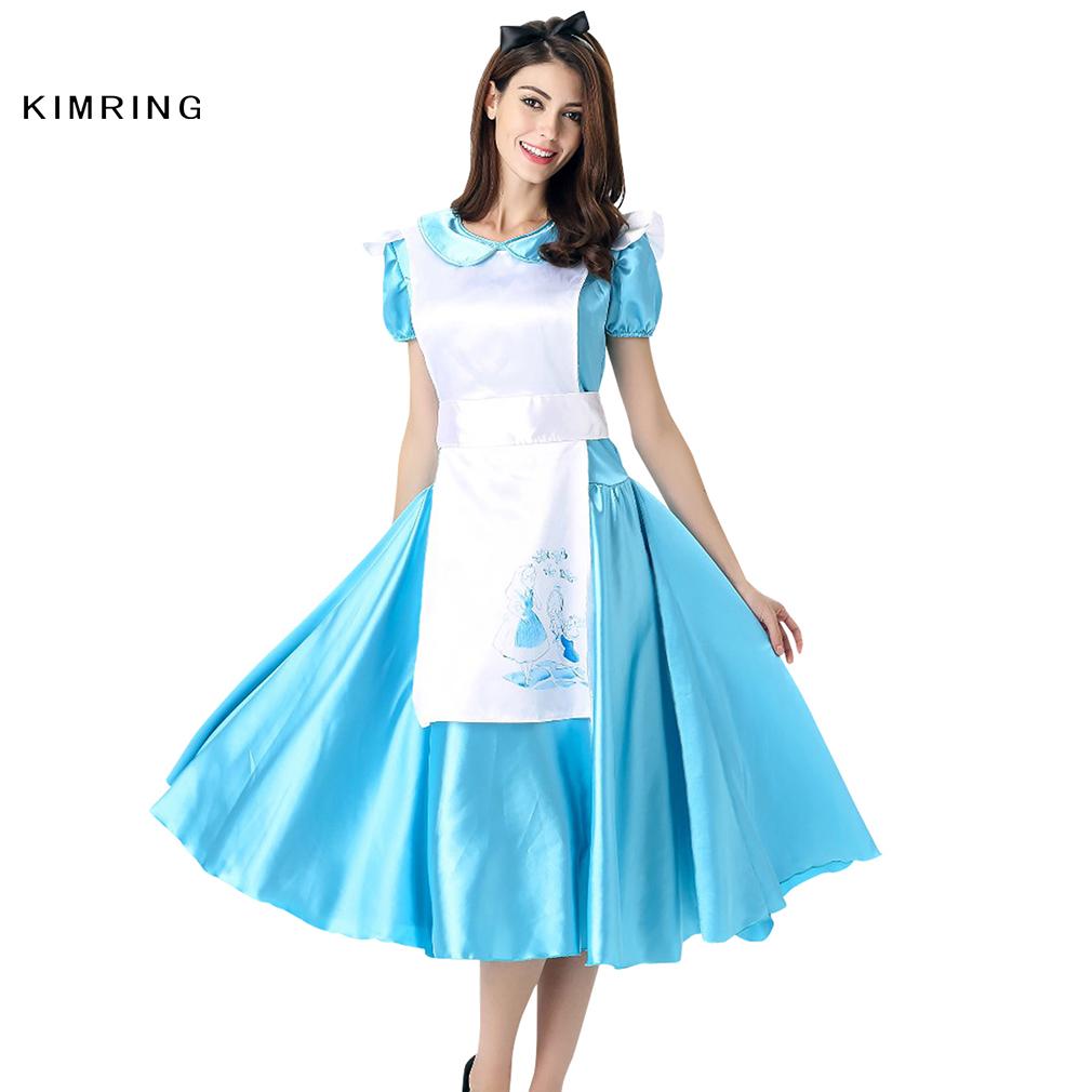 White apron fancy dress - Kimring Princess Maid Dress Halloween Costume Apron Carnival Cosplay Fancy Dress Adult Women Blue Costume Dress