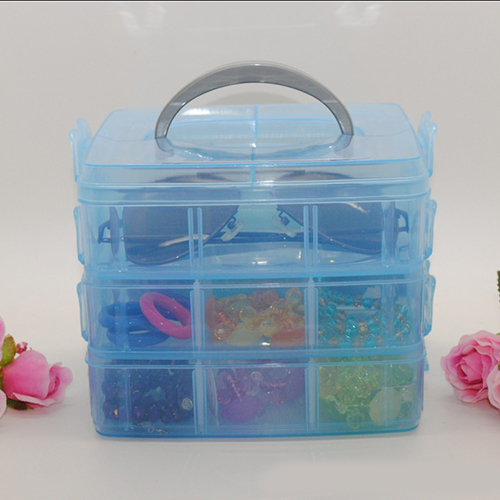 2016 Hot Three Layers Plastic Storage Box Compartment Removable Transparent Firm Adjustable Desktop Tool Containers(China (Mainland))