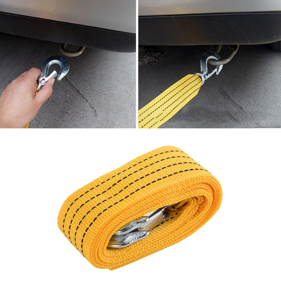 2.8M 3Tons Tow Cable Tow Strap Towing Rope with Hooks for Heavy Duty Car Emergency Steel Wire Tow Rope(China (Mainland))