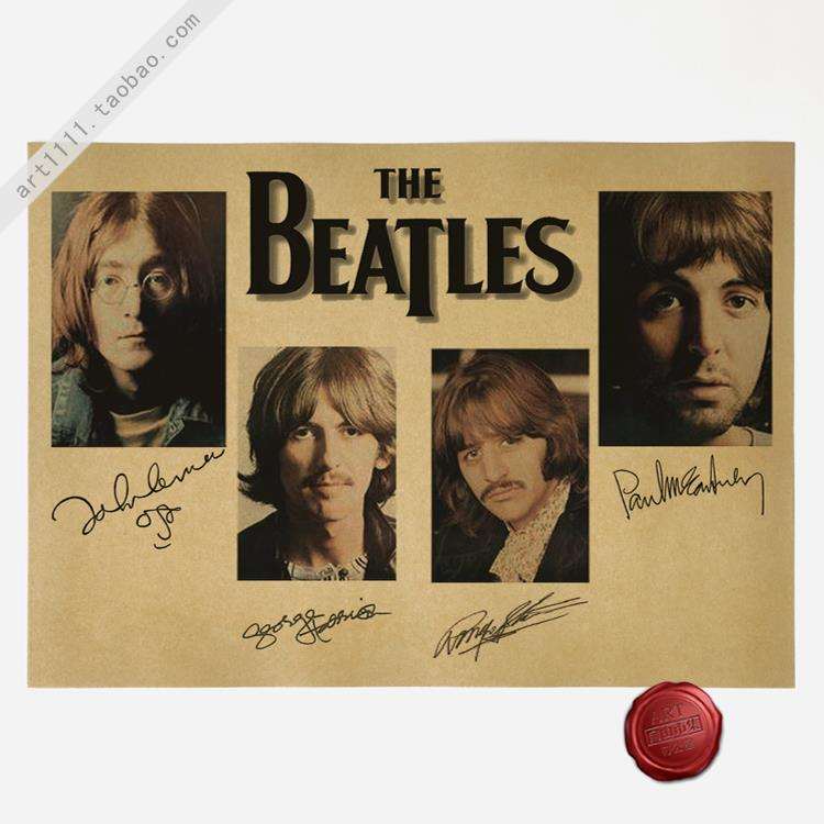 Beatles Signature Collection Vintage Paper Poster Wall Painting Home Decoration 42*30cm(China (Mainland))