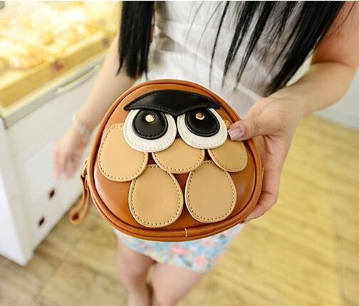 Kawaii Owl PU Handbag Coin Purse Tote Bag Phone Bag FOD(China (Mainland))