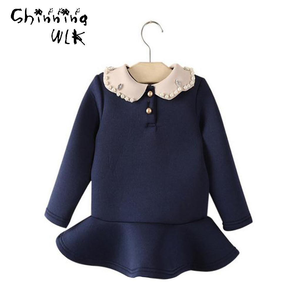 New Arrivals 2016 Summer Cute Baby Girls Dress Solid Print Long Sleeve Children Clothes Fashion Kids Dresses for Girls(China (Mainland))