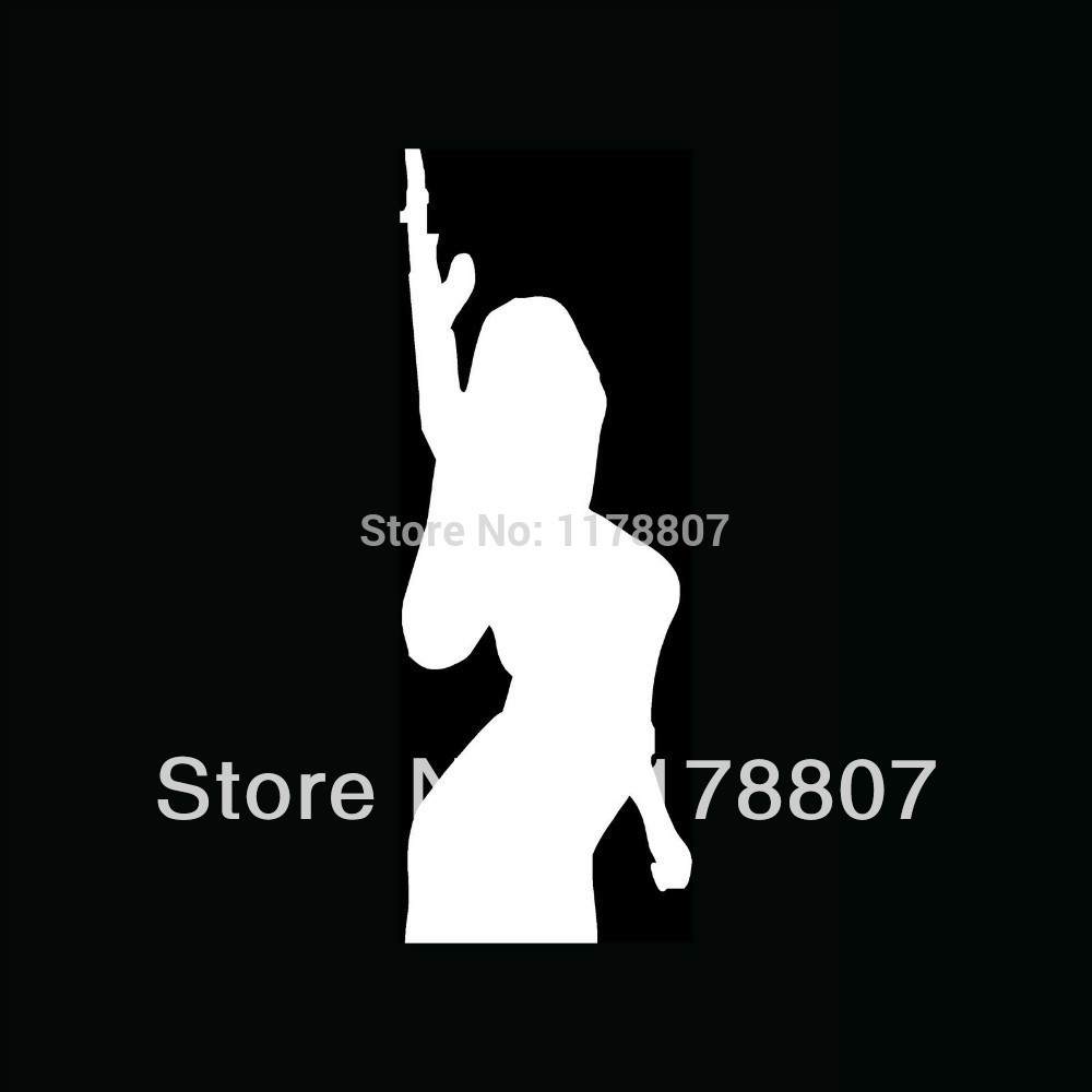 SEXY GIRL WITH GUN Sticker Vinyl for Car Window Truck Bumper Auto Door Decal Machine Chick Arms Shoot Rifle Protect(China (Mainland))