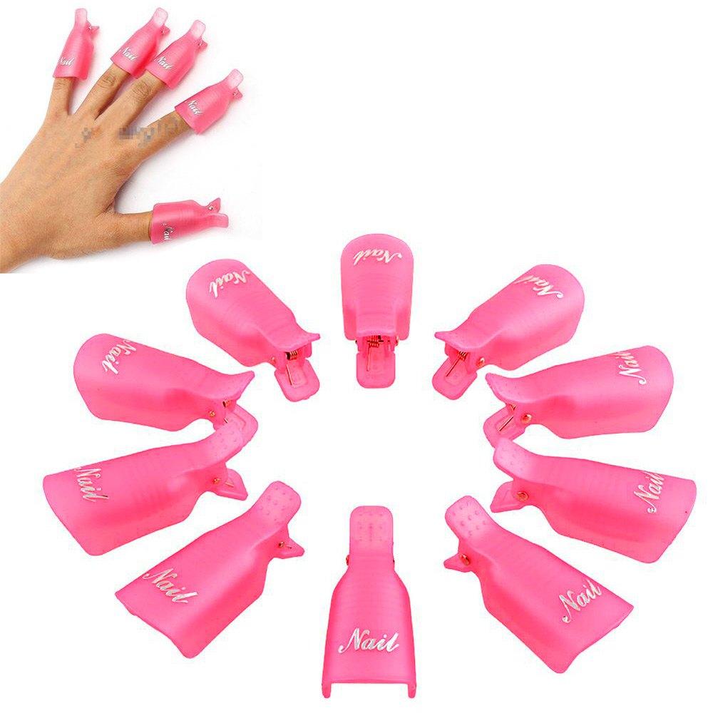 10 Pcs Durable Reusable Plastic Nail Polish Remover Lacquer Tool Soak Off Wrap Nail Cleaner Nail Clip Cap Remover Gel 1515657(China (Mainland))