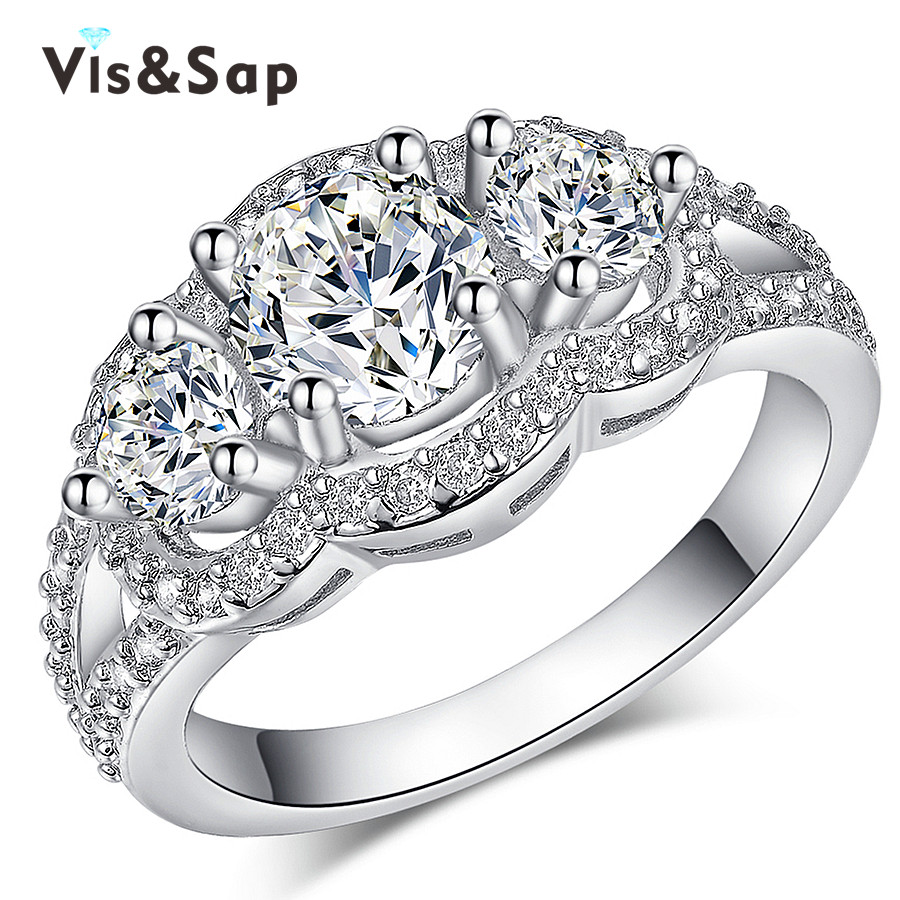 2016 fashion jewelry White Gold plated finger ring AAA Cubic zirconia Wedding Rings For Women Gifts for lover Bijoux VSR173(China (Mainland))