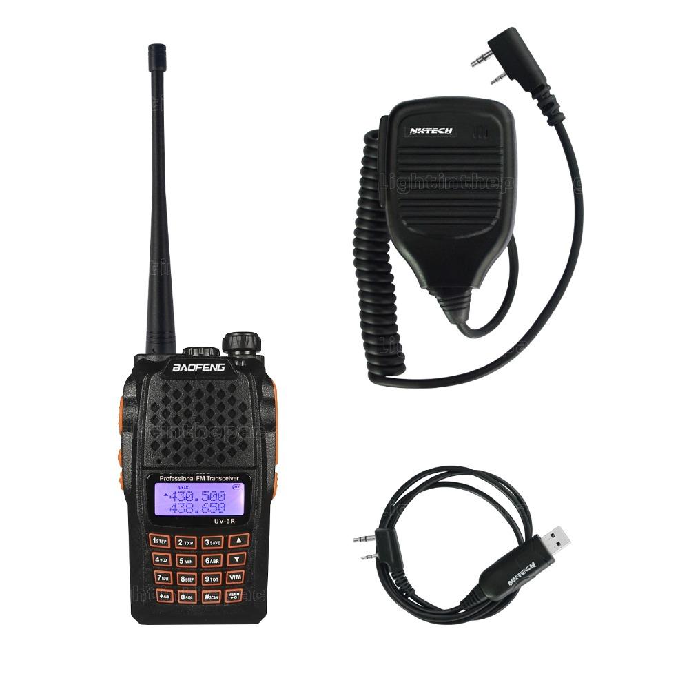 Baofeng Pofeng UV-6R Walkie talkie Radio Yaesu Transceiver Two-way Radio Walkie Talkie+USB Programming Cable+Remote Speaker(China (Mainland))