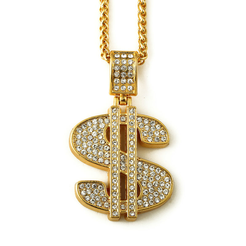 nyuk 18k gold plated hip hop bling bling dollar sign gold