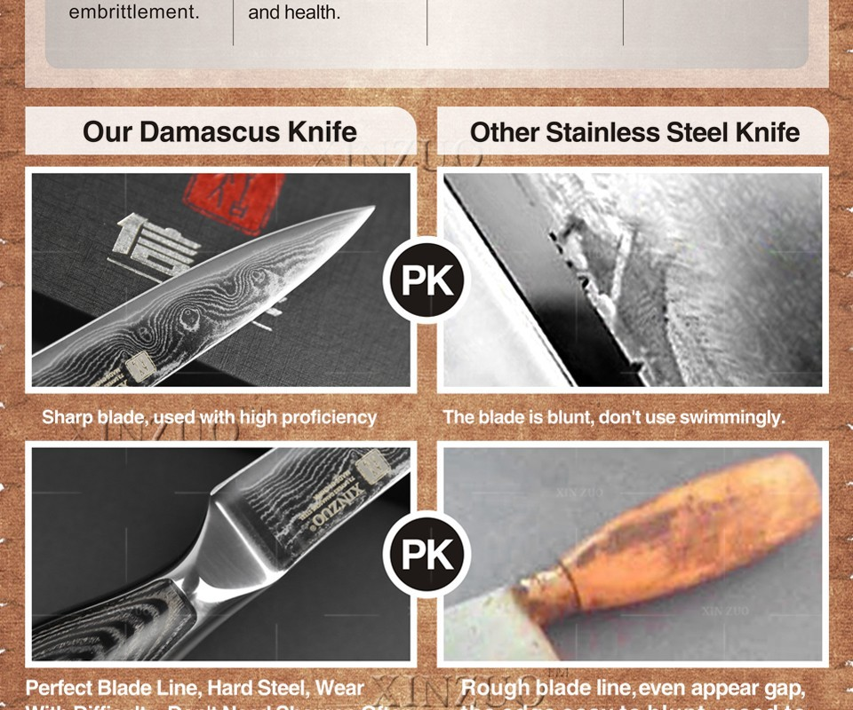 """Buy 3.5"""" paring knife kitchen knife VG-10/VG10 Damascus steel  kitchen knives parer fruit knife with wood steel handle FREE SHIPPING cheap"""