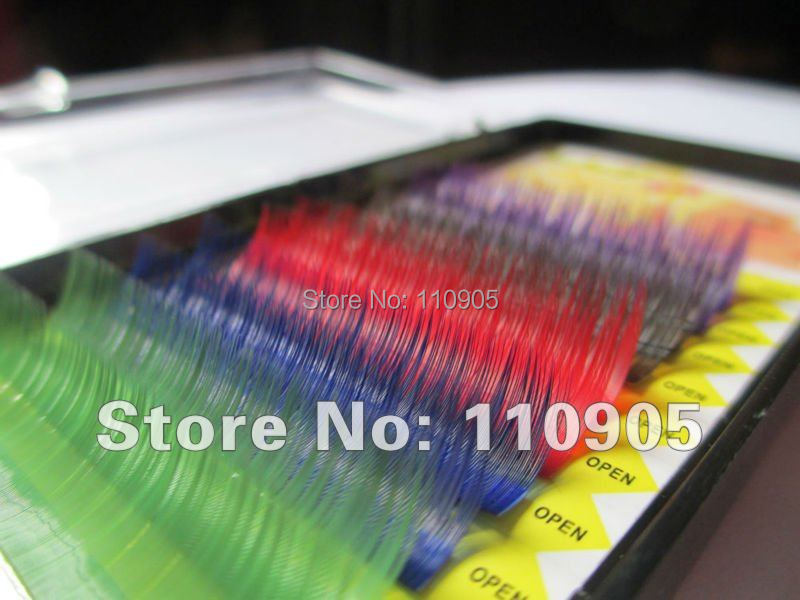 6trays/lot,Rainbow Eyelashes Mix Color Eyelash Extension Free Shipping(China (Mainland))