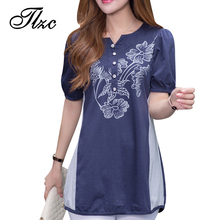 National Wind Flower Print Women Slim Short Sleeve T-shirt Large Size M-4XL New Fashion Lady Summer Cotton Tees(China (Mainland))