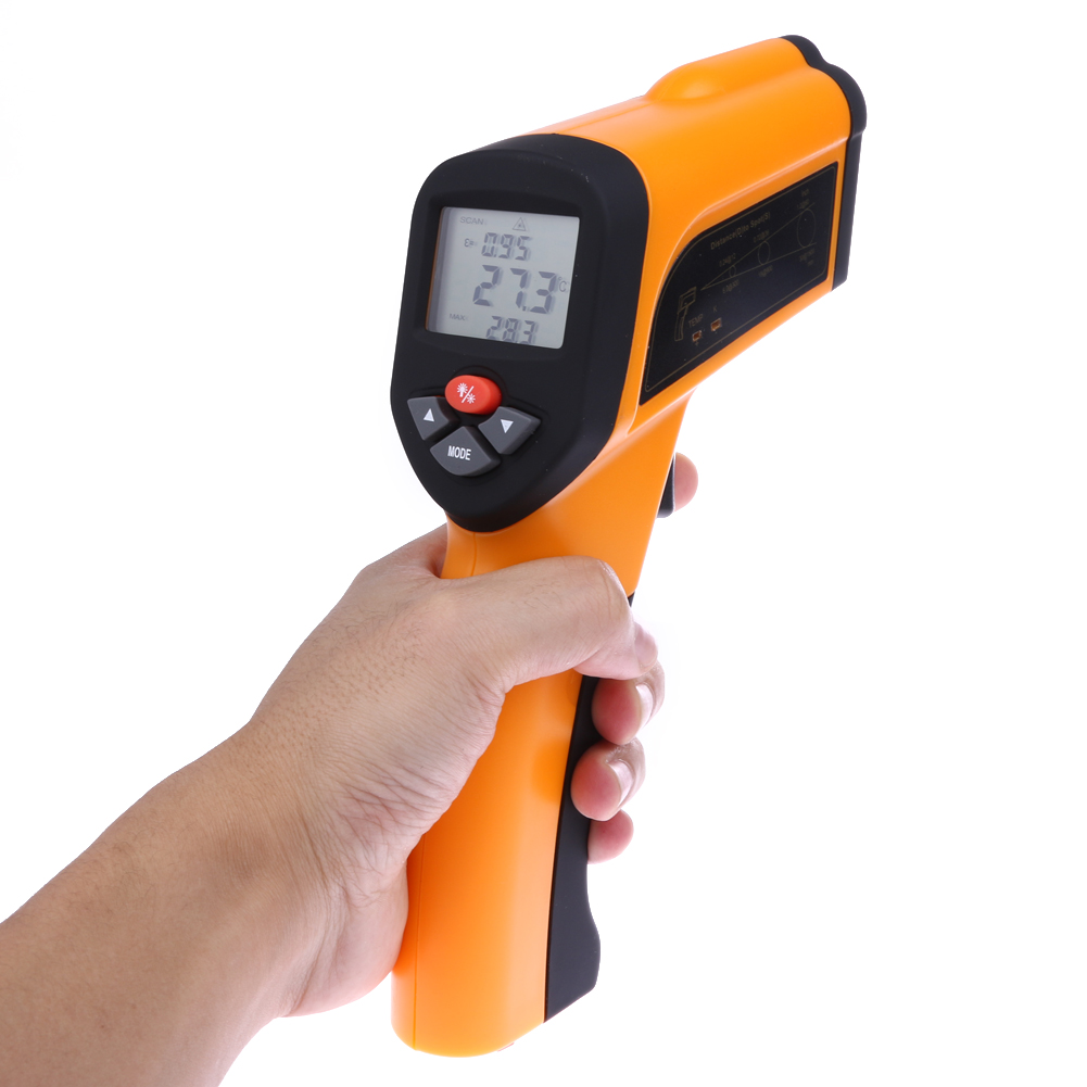 LCD Non-Contact High Temperature Infrared Thermometer Type-K Input Digital Laser Temperature Gauge Meter -50 to 1650C Pyrometer(China (Mainland))