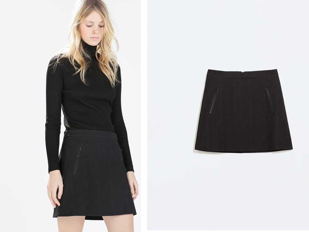 A Line Black Skirt Short - Skirts