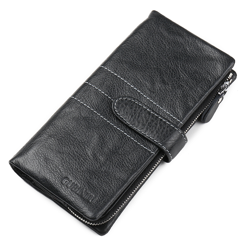 Genuine Leather Wallet Fashion Hasp Purse Solid Long Clutch Wallet Men Bag Zipper Carteira Coin Pocket with Card Holder Wallets(China (Mainland))