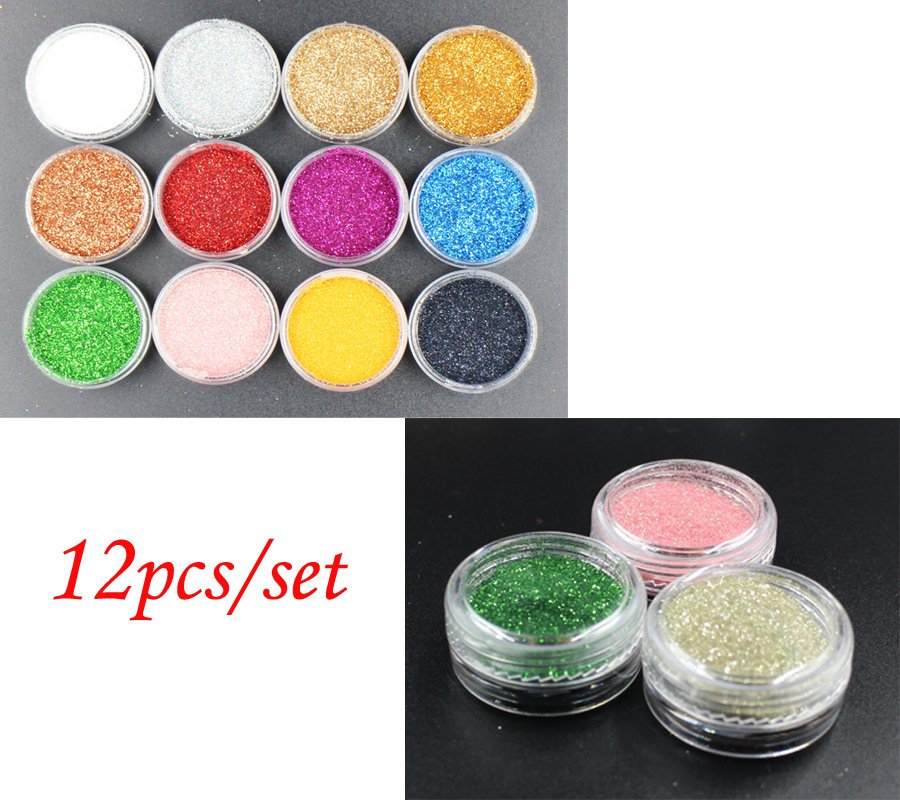 12pots/lot X Nails Glitters Acrylic Powder Dust For Nail Art Tips for Nails Accessories !(China (Mainland))
