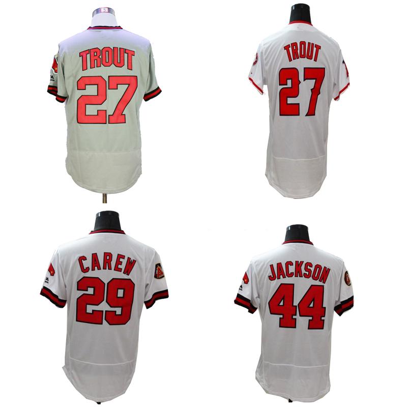 Mens Flexbase Version #27 Mike Trout #29 Rod Carew #44 Reggie Jackson Jersey shirt Color Gray White Throwback Jerseys(China (Mainland))