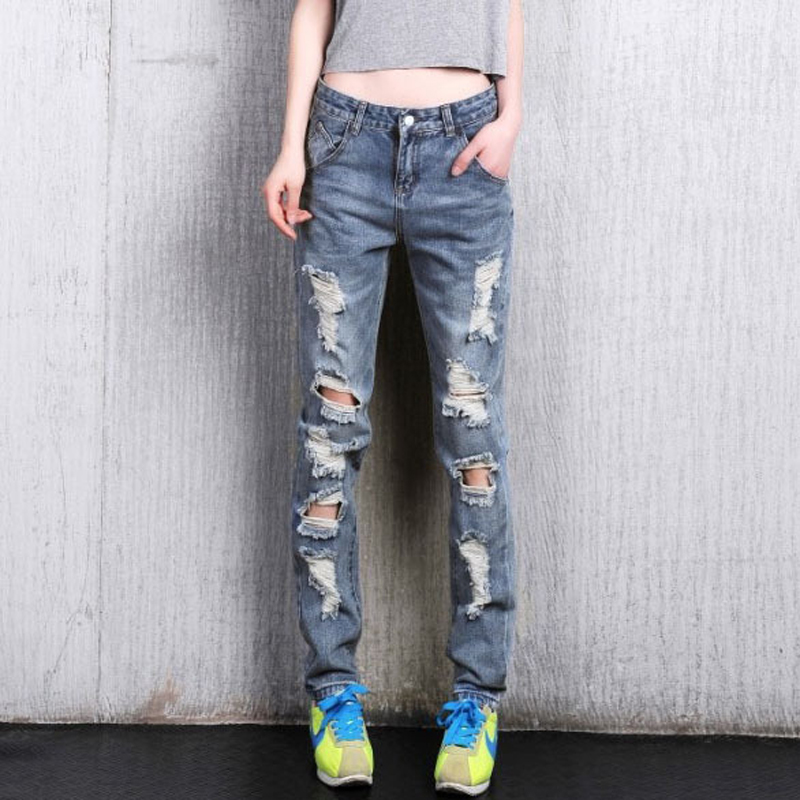Womens loose plus large size ripped jeans Ladys boyfriend jeans for women Female casual hole denim pants Free shippingОдежда и ак�е��уары<br><br><br>Aliexpress