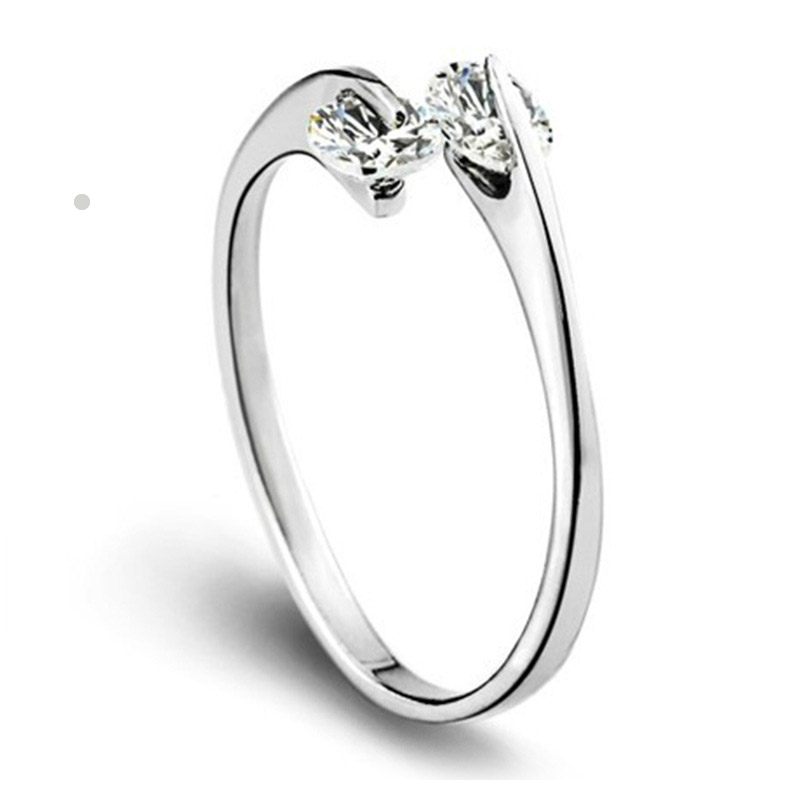 2016 Fashion Luxury Double Bling Rhinestone Adjustable Finger Ring Opening Ring Women Silver Plated Jewelry Wholesale
