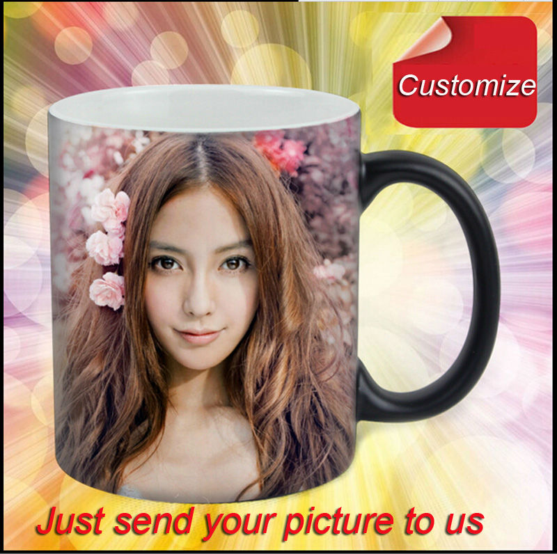 DIY Photo Magic Color Changing Coffee Mug custom your photo on Tea cup Black and Red color 11OZ(China (Mainland))