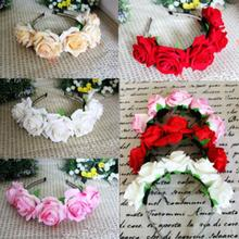2015 Hot Sale Rose Floral Flower Garland Crown Headband Hair Band Bridal Festival Holiday New Arrival