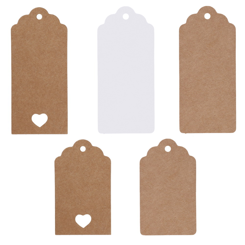 5 Style 50 Pcs DIY Kraft Paper Vintage Christmas Gift Tags Scallop Label Luggage Wedding Blank + Strings For table luggage tags(China (Mainland))