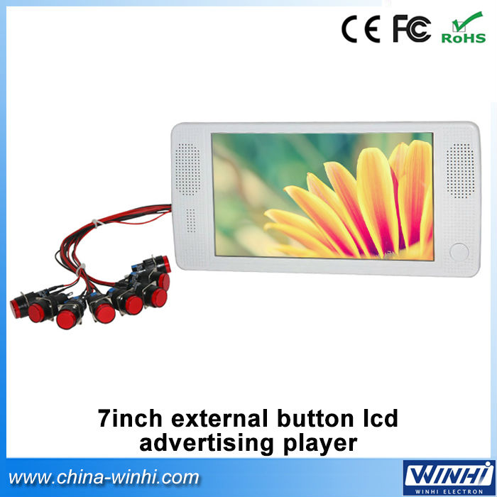7 inch H.264 retail external push button memory card AVI, MP4 Auto play digital advertising display for sale(China (Mainland))