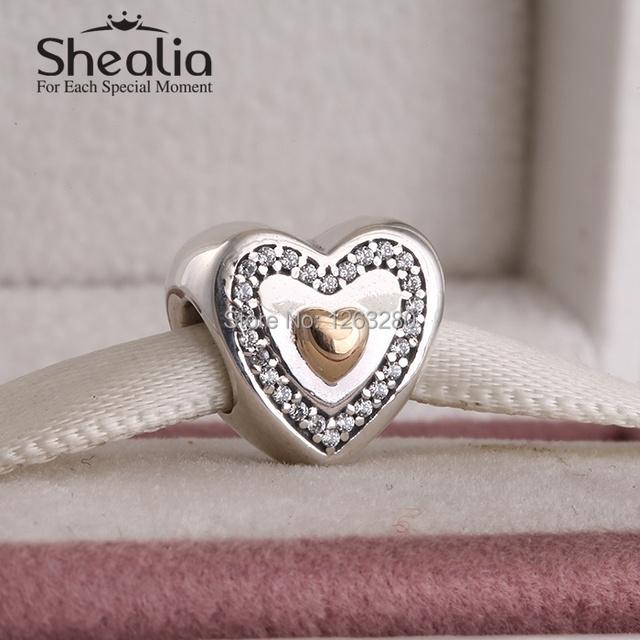 День матери коллекция 925 чистое серебро в форме сердца бусины с 14 k позолота в форме сердца и камнями для браслеты SHEALIA GP059