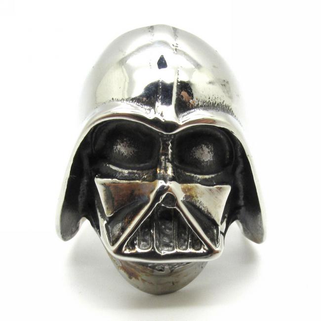 HoT! 316L Stainless Steel Solid Silver Warrior Ring NINJAS Mask Star Wars Darth Vader Mask Shape Ring(China (Mainland))