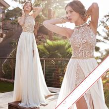 Romantic 2016 Ivory Lace A-line Beaded Halter Sexy Backless High Low Beach Wedding Dress Chiffon Custom Made Wedding Dress 2016(China (Mainland))