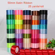 Buy 50mm Satin Ribbon 25 Yards/Roll arts crafts & sewing ribbon White Black Blue Purple Ribbon handmade crafts materials gift wrap for $3.59 in AliExpress store