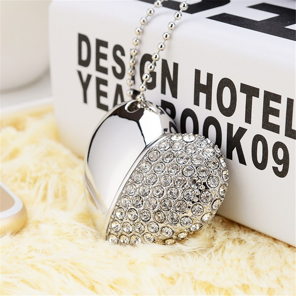 16 GB USB Flash Drives Mini Diamond Crystal Heart shaped USB Disk Memory Stick girls gifts USB Digital with Key Chain Hole(China (Mainland))