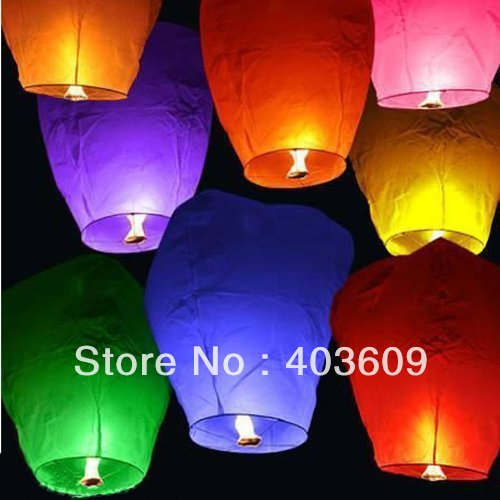 2pieces Sky Lanterns Assorted Colors Free Shipping Wholesale(China (Mainland))