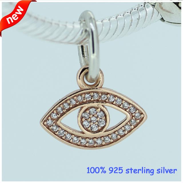 Настоящее 925-Sterling-Silver роуз золотой мотаться CZ камни глаз бусины подходит европейский женщина стиль ювелирный шарм браслеты змея цепи