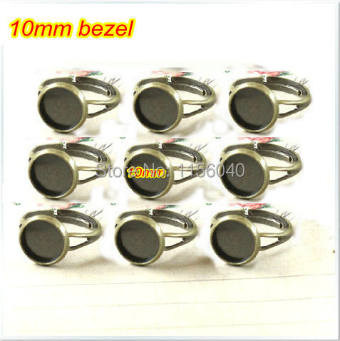Free Shipping 2014 new 10mm Round Adjustable Antique Bronze plated Rings Base Setting,ring blanks,bezel ring blanks,50pcs/lot(China (Mainland))