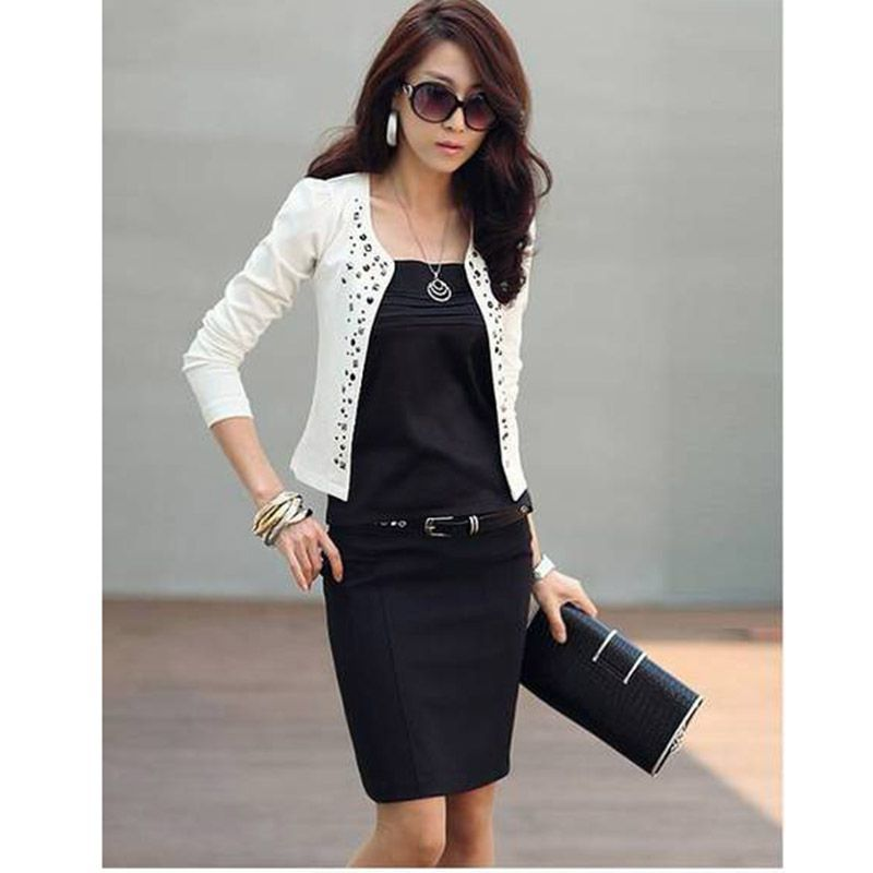 2015 New Style Women's Black Suit Jacket Rhinestone Rivet Puff Long Sleeve Thin Short Coat for Spring Autumn ZE3118(China (Mainland))