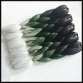 24inch 3 toned jumbo kanekalon ombre 100g pc synthetic braiding hair black green gray high temperature