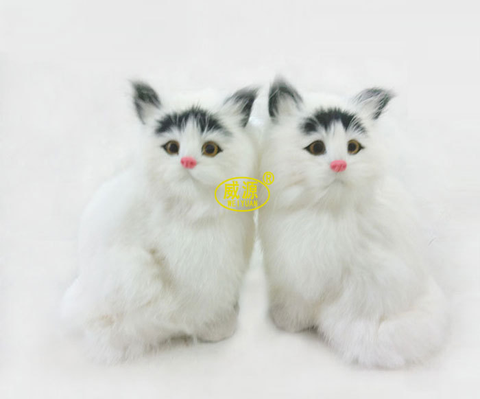 Granville Source Handicrafts Handicraft Animal Simulation Animal Home Decorative White Yellow Ear Of Cat C010(China (Mainland))