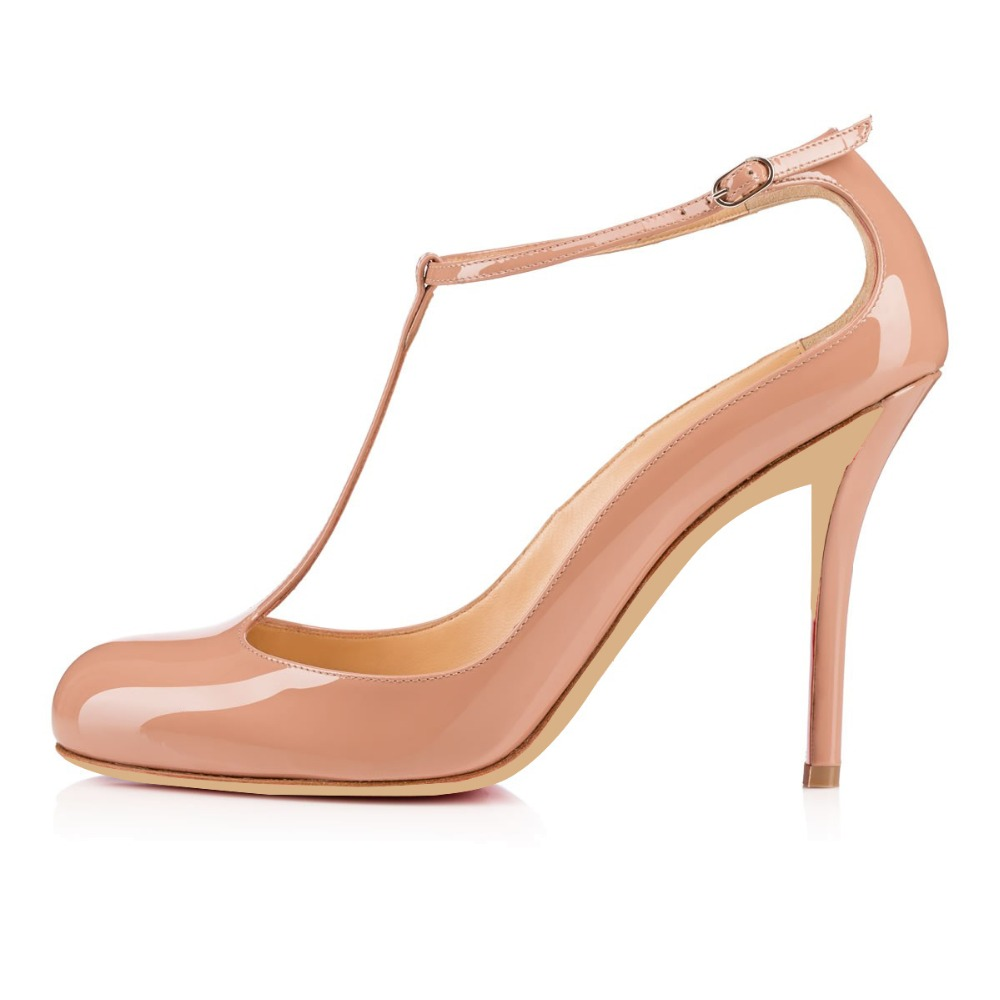 Aibarbie TM Women Handmade Fashion Cocota 100MM Heel T-strap Round Toe Party Dress Pumps Shoes Custmization is Available