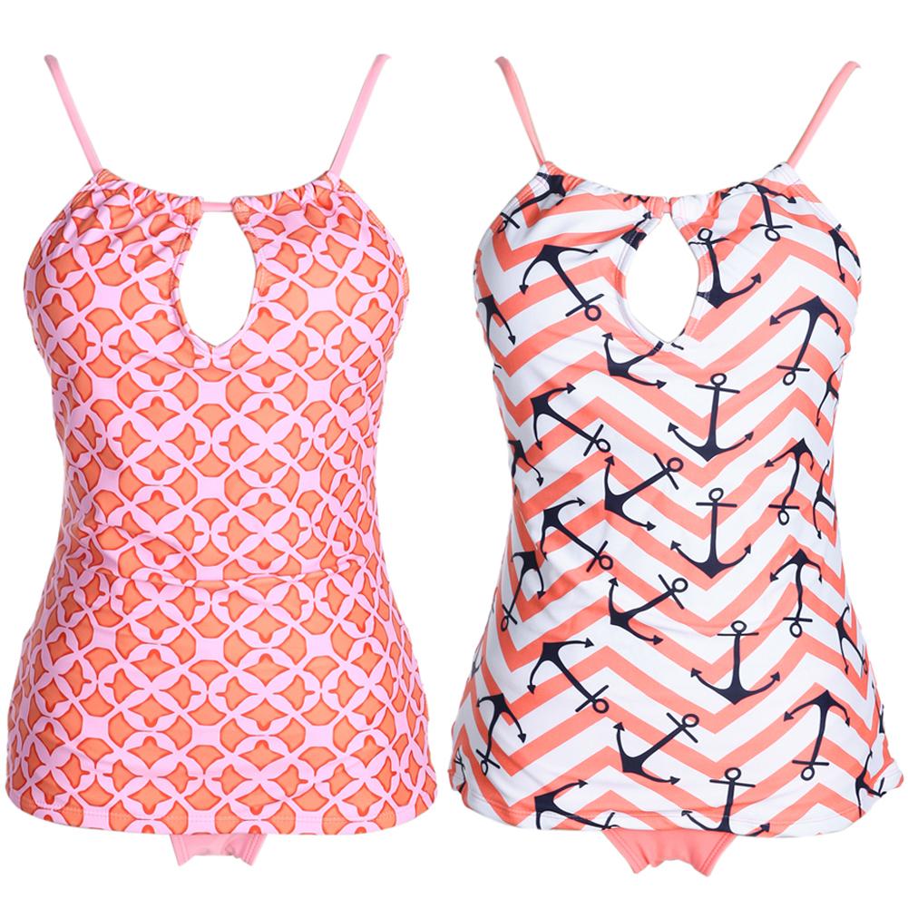 Bikini Women Tankini Plus Size One Piece Swimsuit Push Up Tribal Printed Padded Bikini Set Pink Beachwear Female