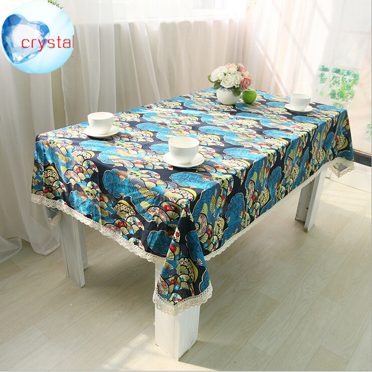 NEW Fan-shaped flower Printing Liene Cotton Household Multifunctional table cloths TWO COLORS T83(China (Mainland))