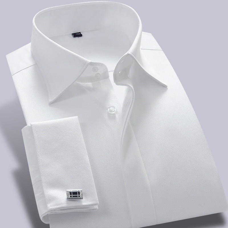 Male French shirt male long-sleeve slim formal dress the groom married cufflinks shirt white commercial men's clothing shirt(China (Mainland))