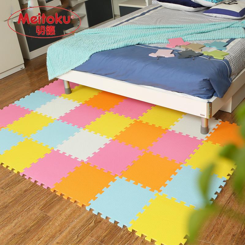Meitoku baby EVA Foam Play Puzzle Mat/ 18 or 24/lot Interlocking Exercise Tiles Floor Carpet Rug for Kid,Each 30cmX30cm,1cmThick(China (Mainland))
