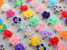 30Pcs /Lots Wholesale Mixed Colors Flower Polymer Clay Finger Rings For Kids Flower Adjustable Wedding Rings For Children Gift(China (Mainland))