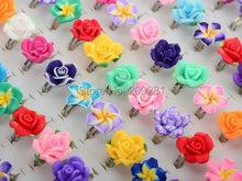 30 unidades/lotes gros couleurs mélangées fleur pâte polymère anneaux de doigt pour enfants fleur réglable anneaux de mariage pour enfants cadeau(China (Mainland))