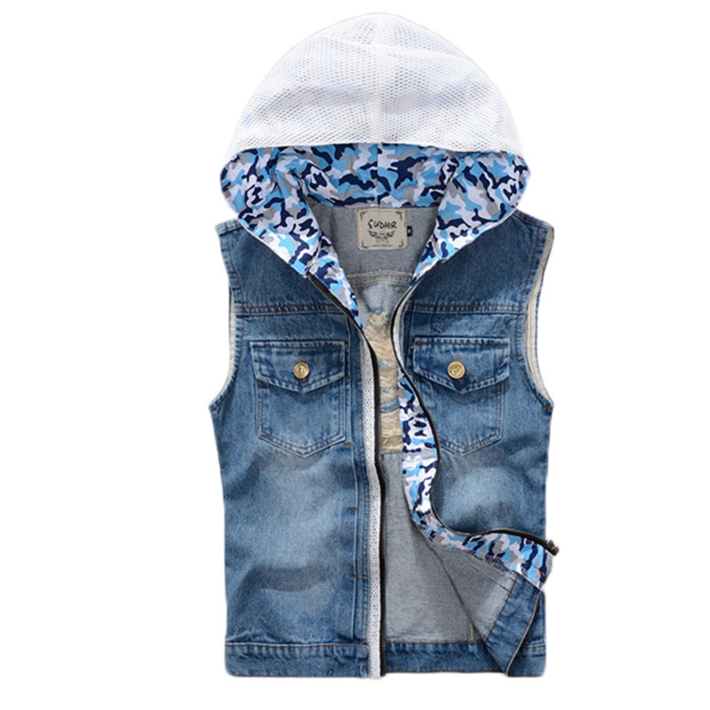 2015 New Arrival Men's Denim Vest Casual Jeans Jacket Slim Fit Camouflage Hoodies Brand Jeans Vest Men Sleeveless Denim Vest(China (Mainland))