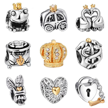 925 Sterling Silver Gold Hearts Crown European Charm Beads Fit Pandora Style Bracelet Necklace Pendant DIY Original Jewelry(China (Mainland))