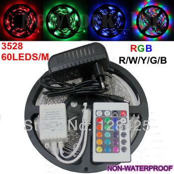 RGB/W/B/Y/R/G 3528 300leds nonwaterproof LED strip light 5m/roll+24 Keys IR Remote+Power Adapter